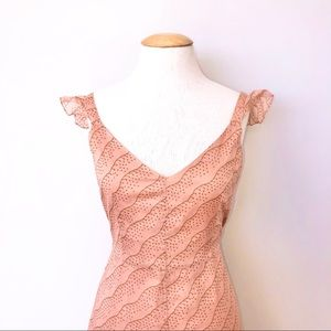 j crew dusty rose nude ruffle strap frilly dress